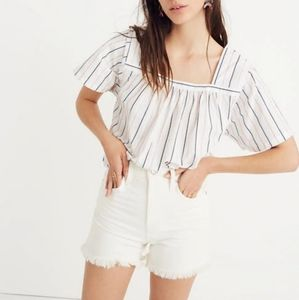 Madewell stripe square neck 100% cotton